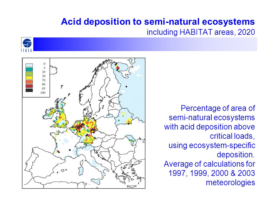 Acid deposition to semi-natural ecosystems including HABITAT areas, 2020