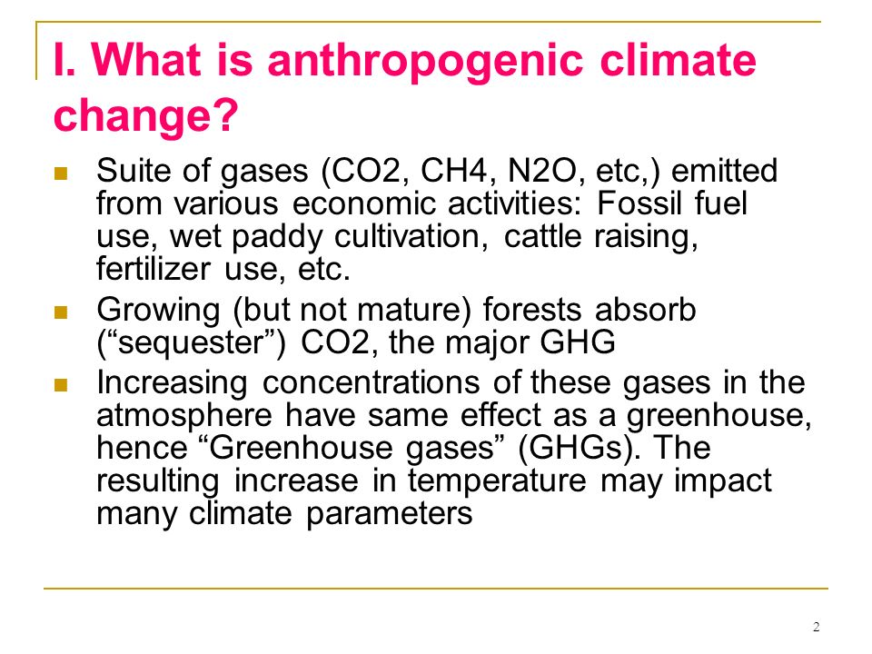 I. What is anthropogenic climate change