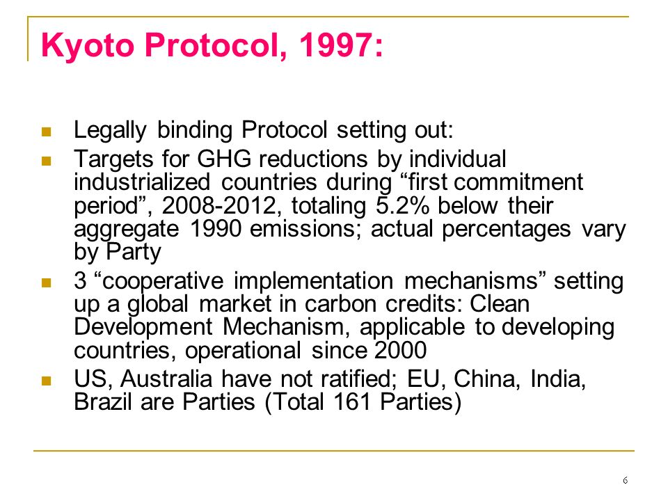Kyoto Protocol, 1997: Legally binding Protocol setting out: