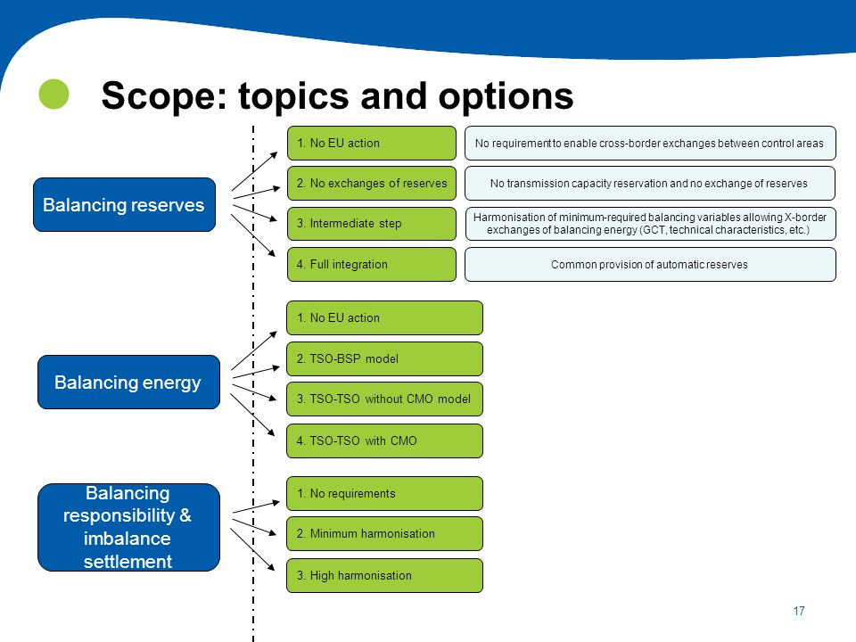 Scope: topics and options