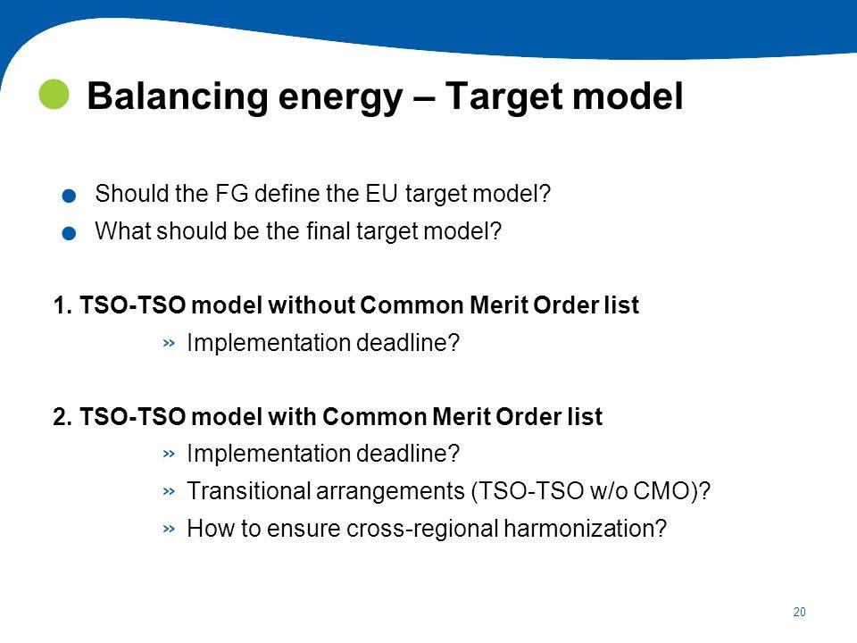 Balancing energy – Target model