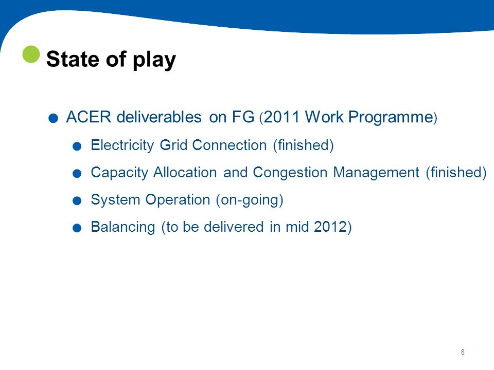 State of play ACER deliverables on FG (2011 Work Programme)