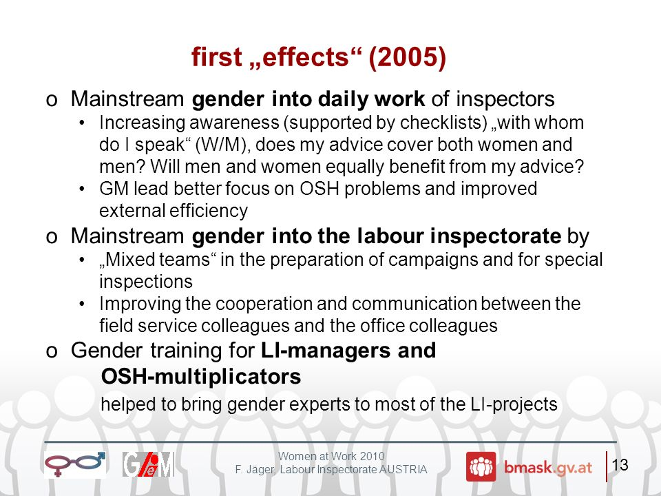 "first ""effects (2005) Mainstream gender into daily work of inspectors"