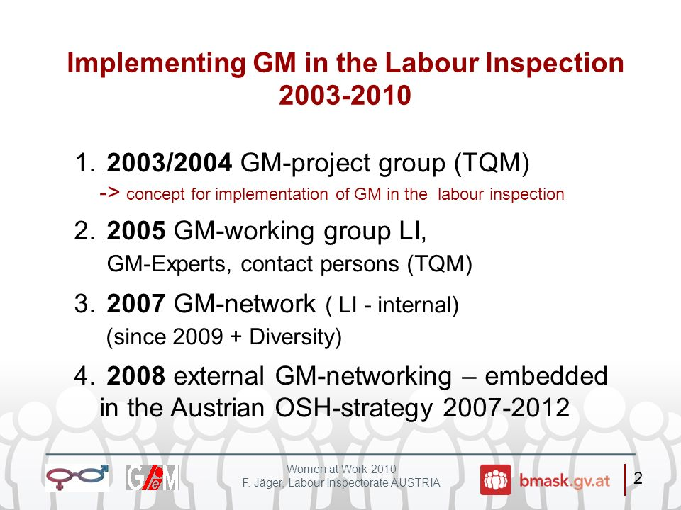 Implementing GM in the Labour Inspection 2003-2010