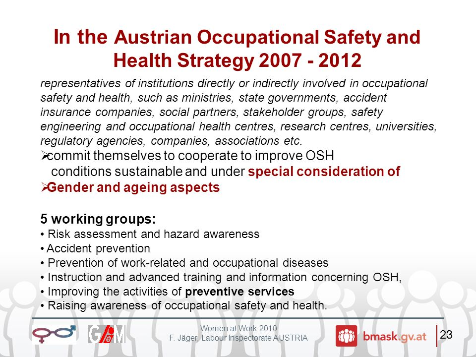 In the Austrian Occupational Safety and Health Strategy 2007 - 2012