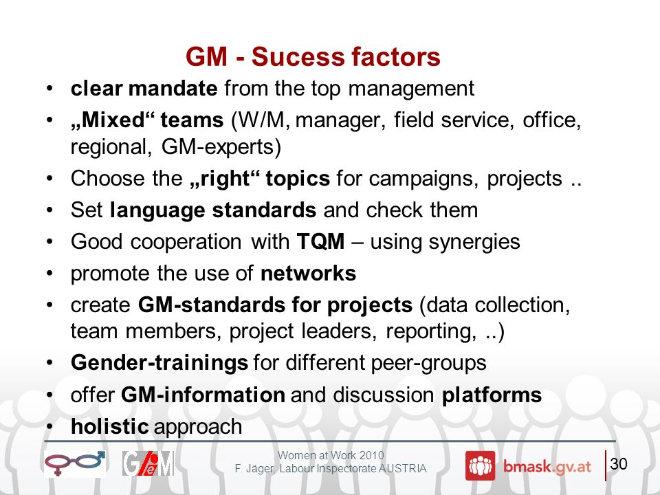 GM - Sucess factors clear mandate from the top management