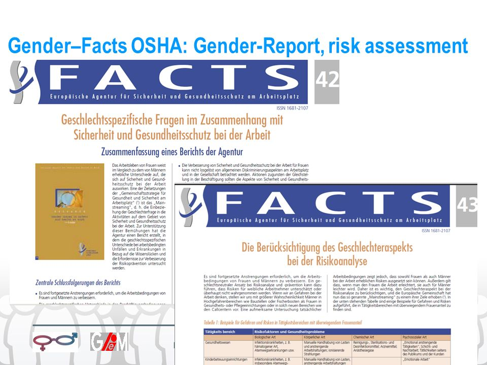 Gender–Facts OSHA: Gender-Report, risk assessment