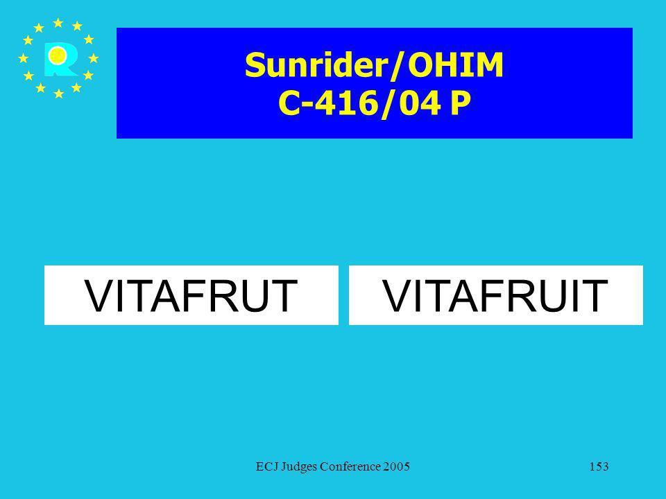 Sunrider/OHIM C-416/04 P VITAFRUT VITAFRUIT ECJ Judges Conference 2005