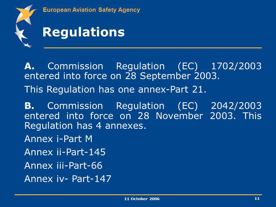 Regulations A. Commission Regulation (EC) 1702/2003 entered into force on 28 September 2003. This Regulation has one annex-Part 21.