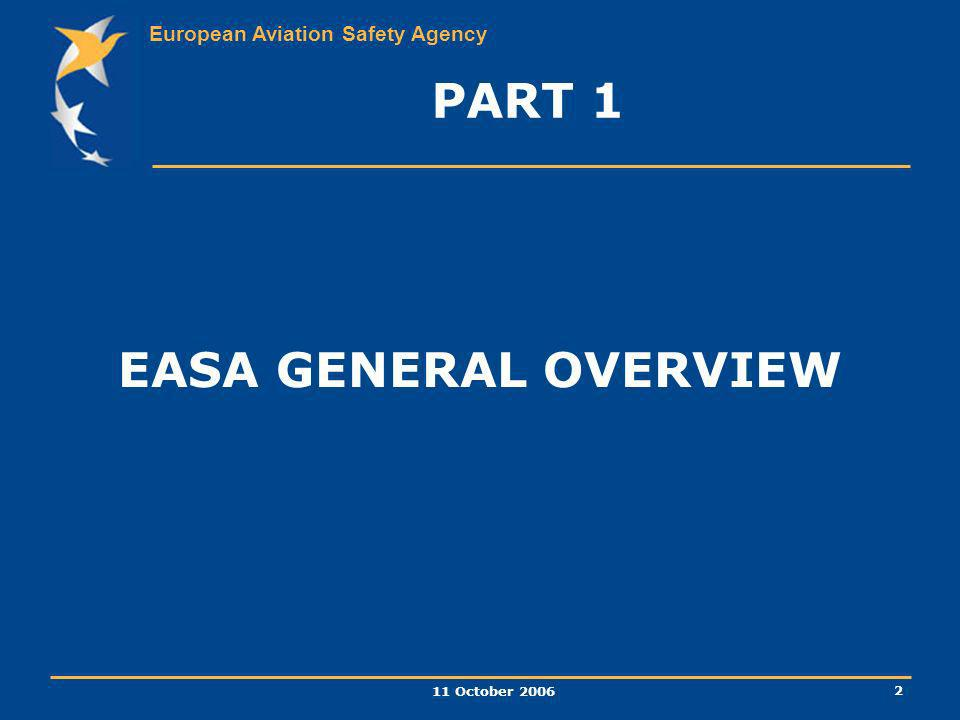 PART 1 EASA GENERAL OVERVIEW