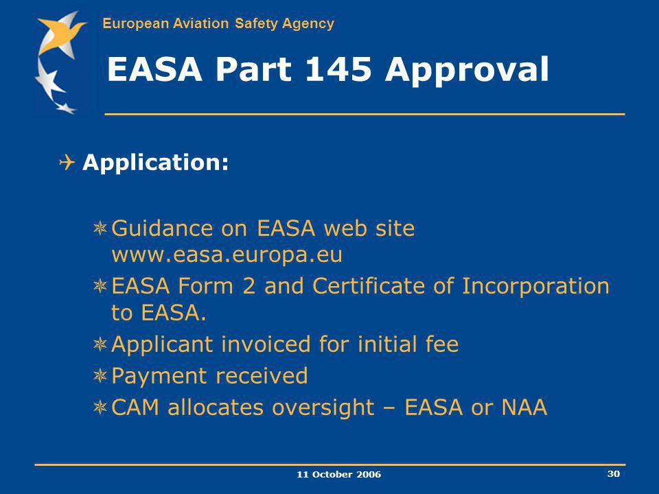 EASA Part 145 Approval Application: