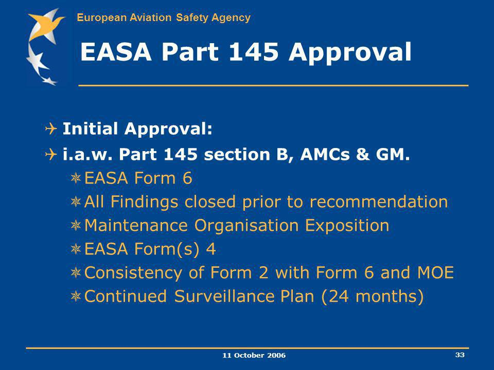 EASA Part 145 Approval Initial Approval: