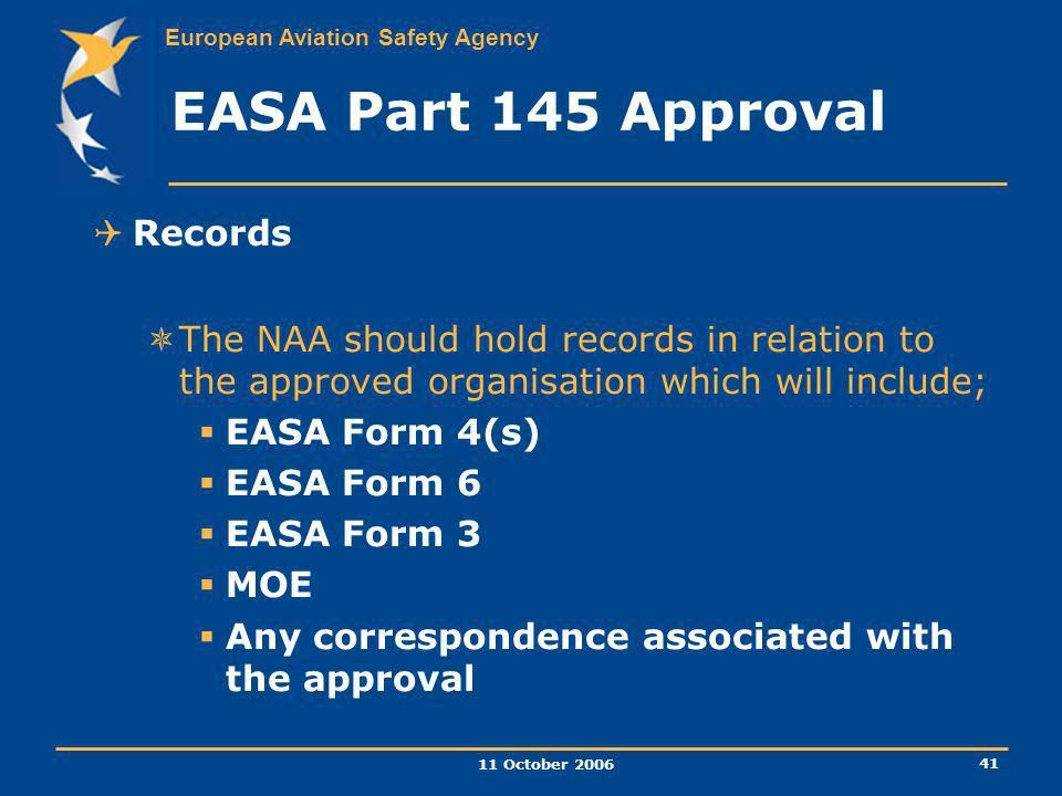 EASA Part 145 Approval Records