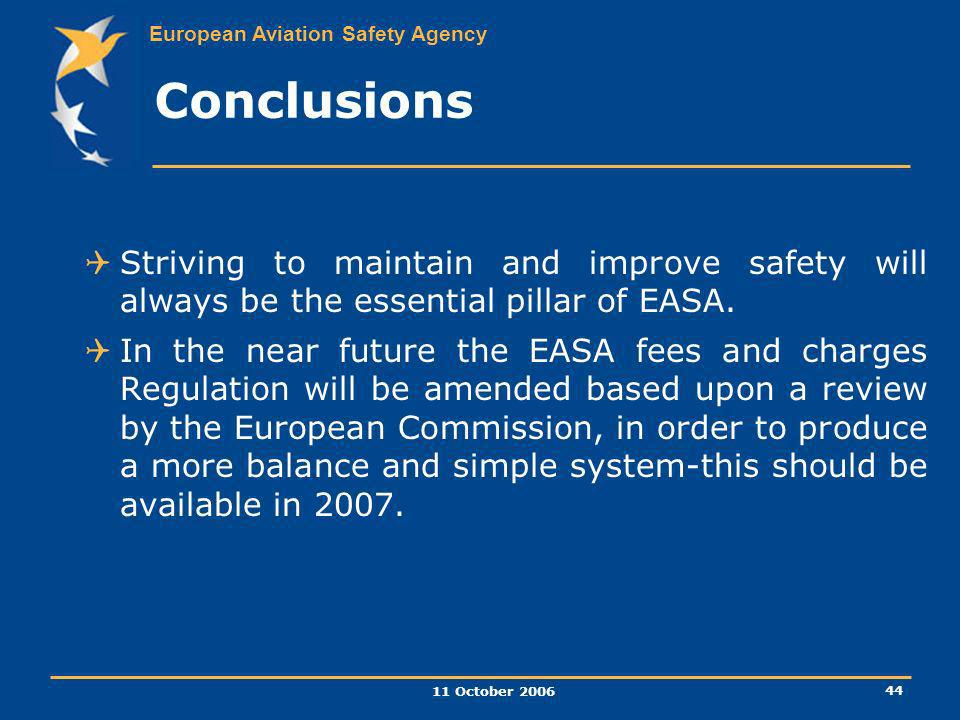 Conclusions Striving to maintain and improve safety will always be the essential pillar of EASA.