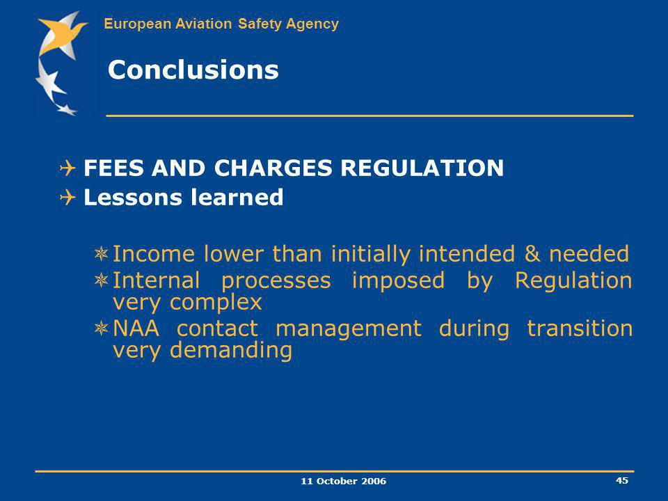 Conclusions FEES AND CHARGES REGULATION Lessons learned