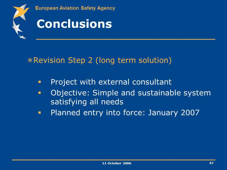 Conclusions Revision Step 2 (long term solution)