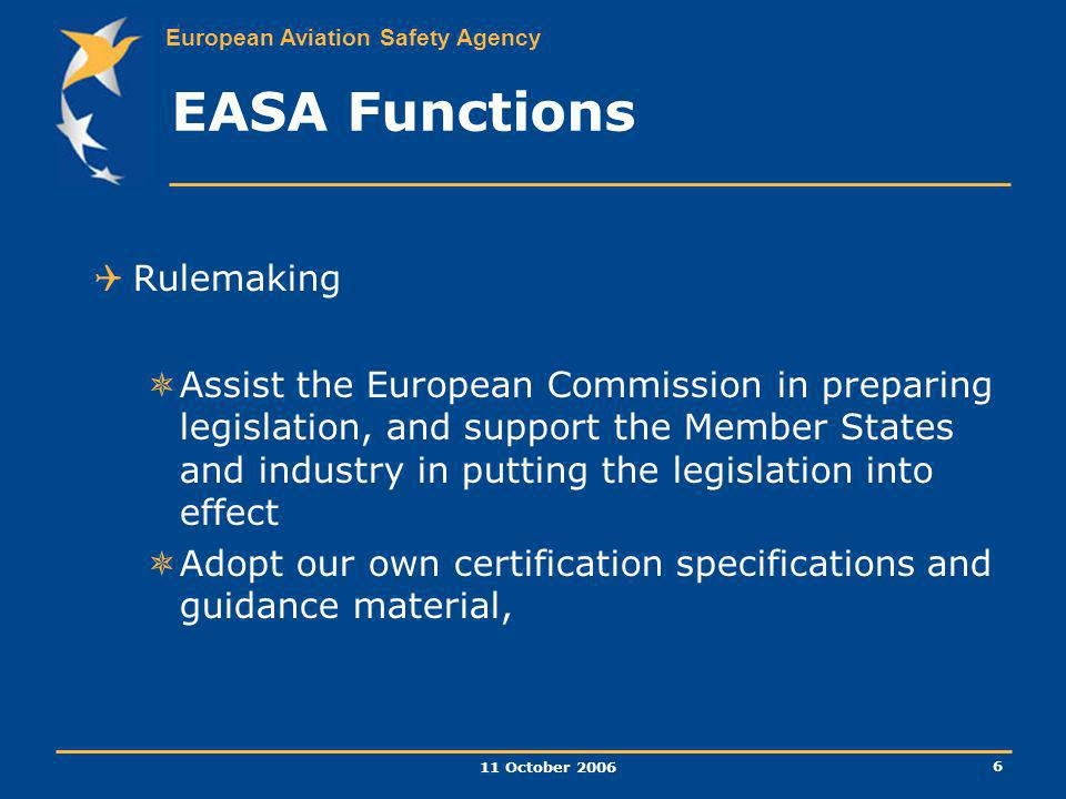 EASA Functions Rulemaking