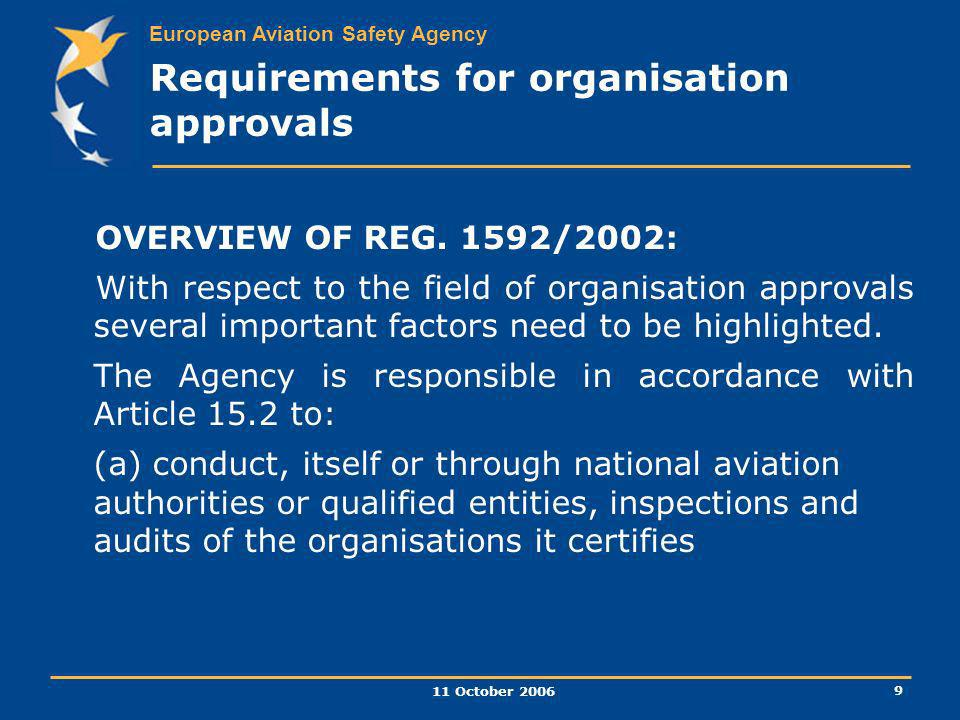 Requirements for organisation approvals