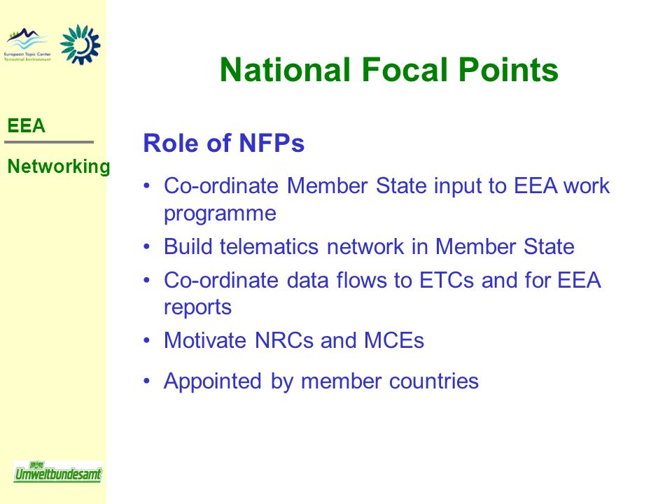 National Focal Points Role of NFPs