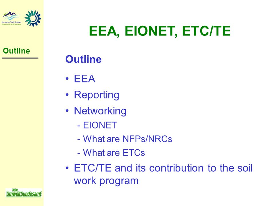 EEA, EIONET, ETC/TE Outline EEA Reporting Networking
