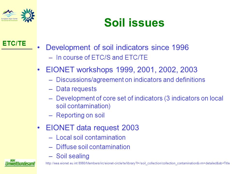Soil issues Development of soil indicators since 1996