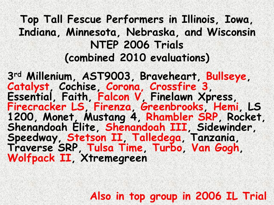Top Tall Fescue Performers in Illinois, Iowa, Indiana, Minnesota, Nebraska, and Wisconsin NTEP 2006 Trials (combined 2010 evaluations)
