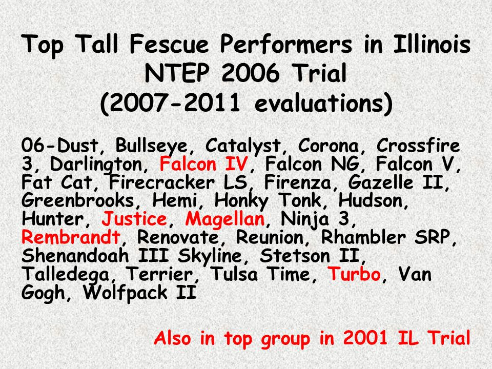 Top Tall Fescue Performers in Illinois NTEP 2006 Trial (2007-2011 evaluations)
