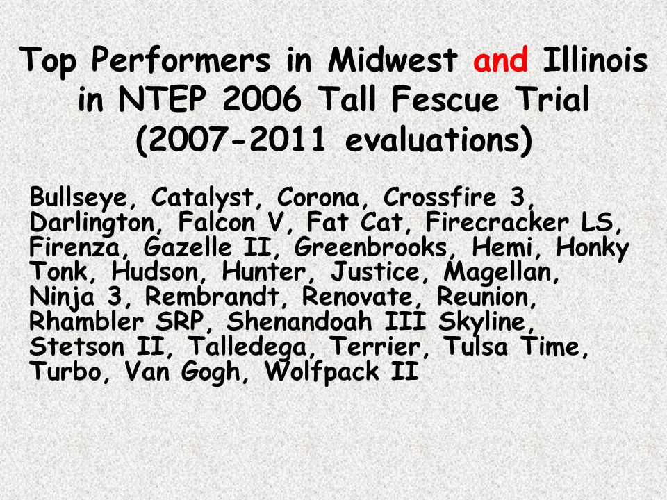 Top Performers in Midwest and Illinois in NTEP 2006 Tall Fescue Trial (2007-2011 evaluations)