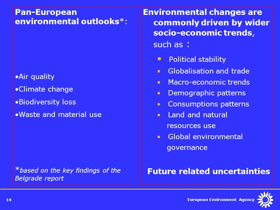 Political stability Pan-European environmental outlooks*: