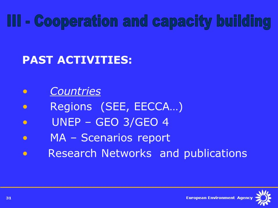 III - Cooperation and capacity building