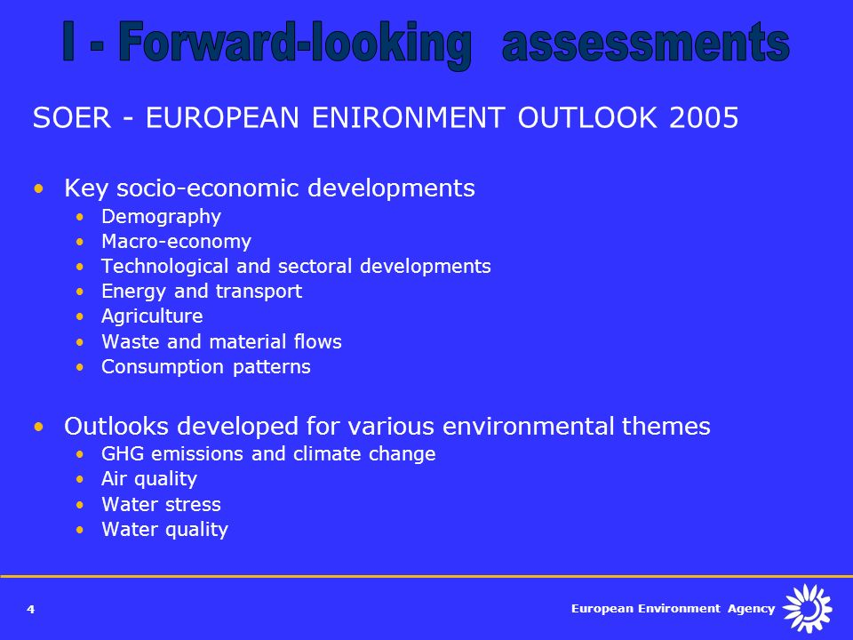 I - Forward-looking assessments