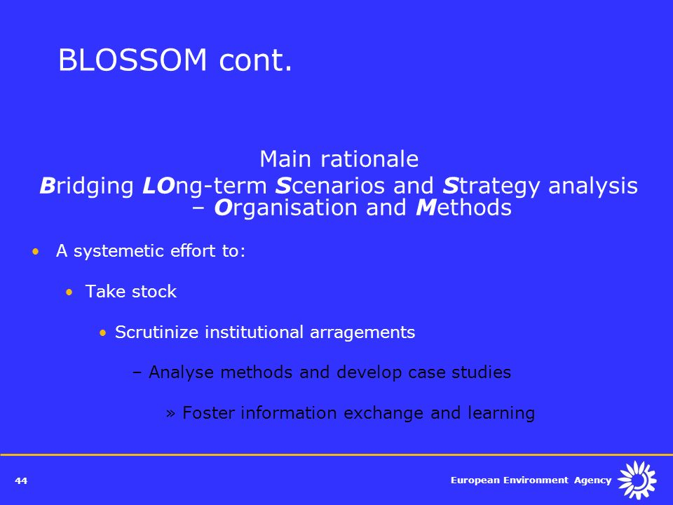 BLOSSOM cont. Main rationale