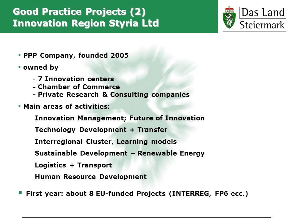 Good Practice Projects (2) Innovation Region Styria Ltd