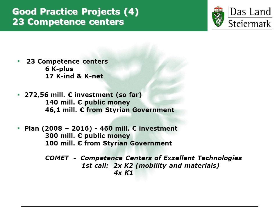 Good Practice Projects (4) 23 Competence centers