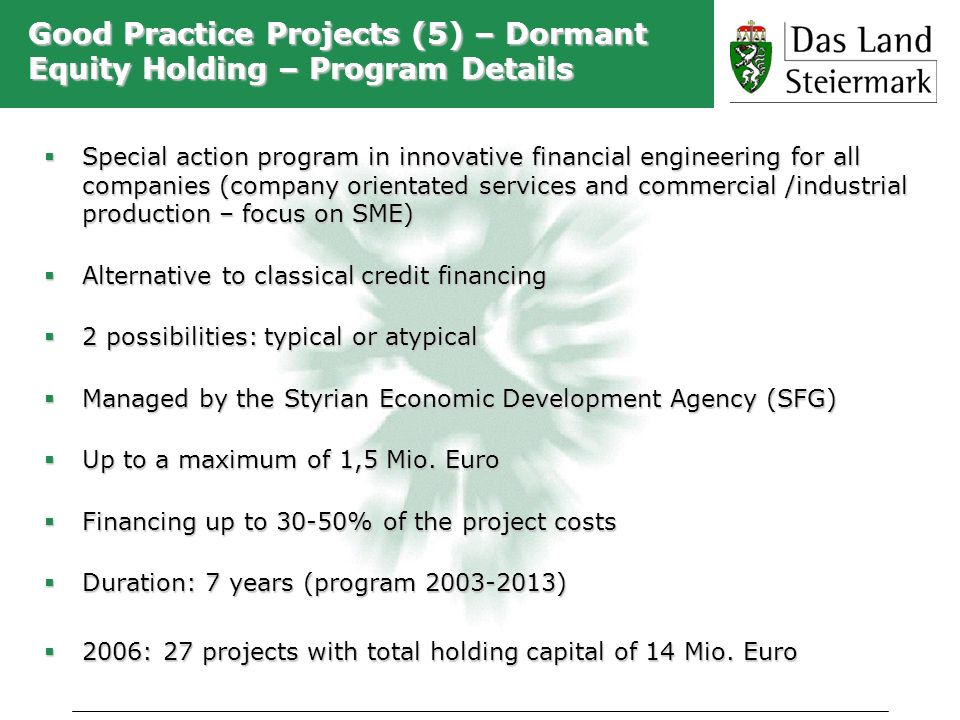 Good Practice Projects (5) – Dormant Equity Holding – Program Details