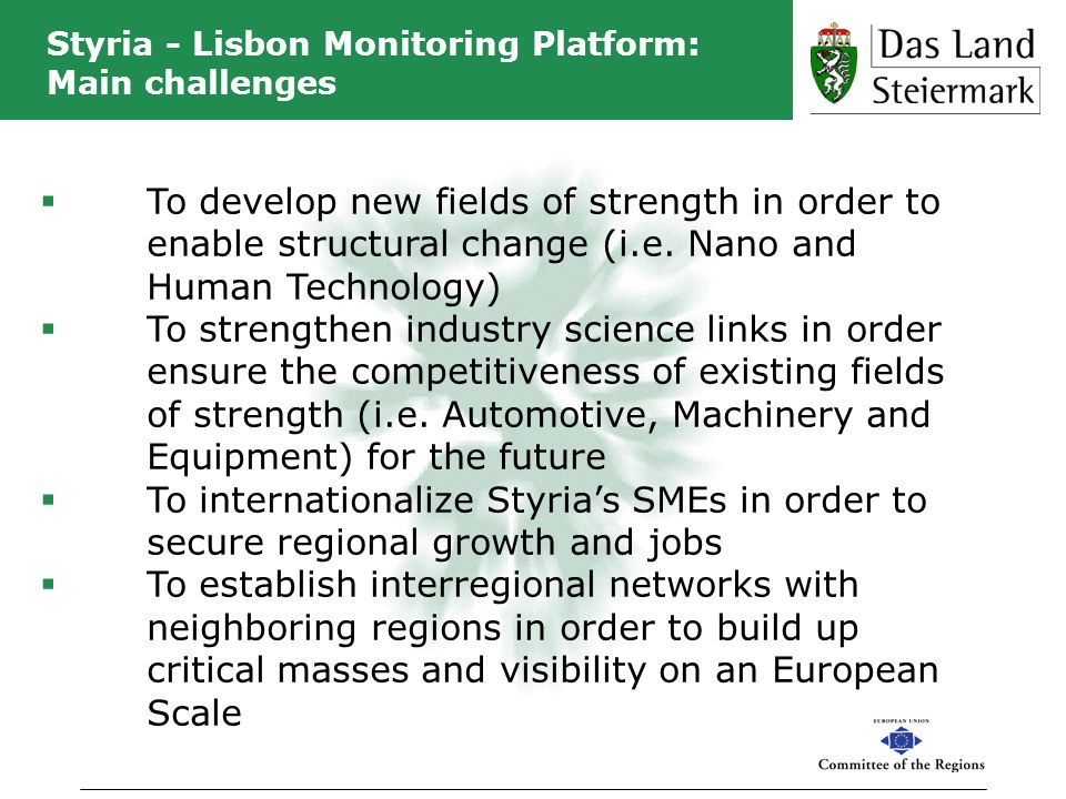 Styria - Lisbon Monitoring Platform: Main challenges