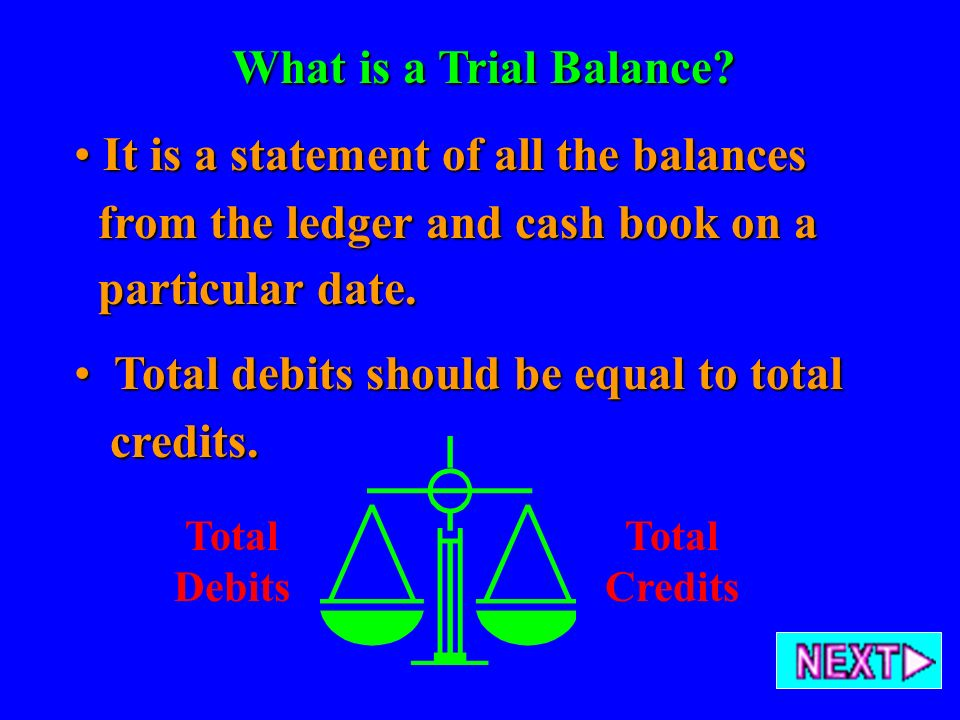 It is a statement of all the balances