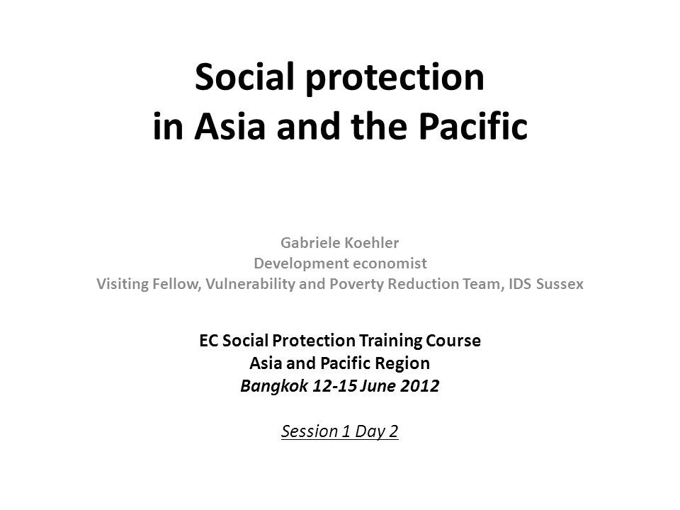 Social protection in Asia and the Pacific