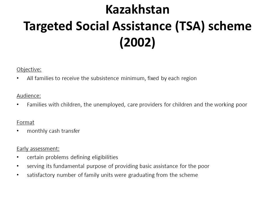 Kazakhstan Targeted Social Assistance (TSA) scheme (2002)