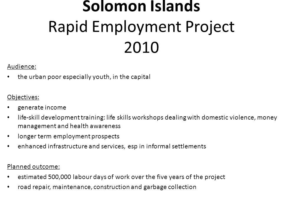 Solomon Islands Rapid Employment Project 2010