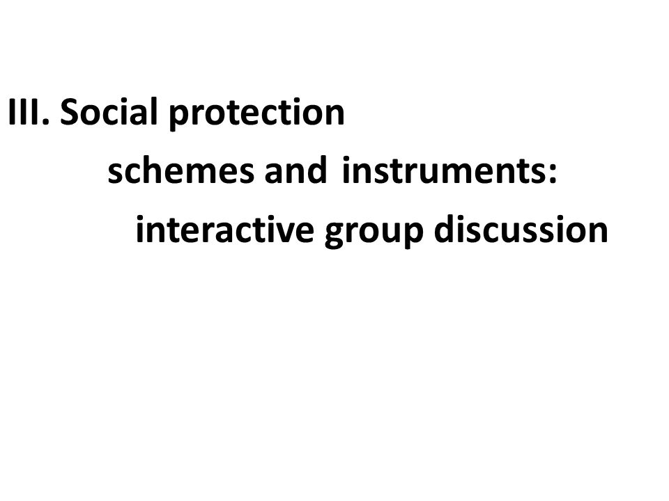 III. Social protection schemes and instruments: interactive group discussion