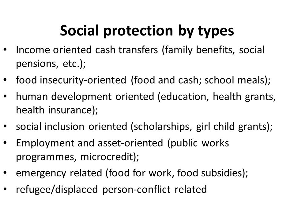 Social protection by types