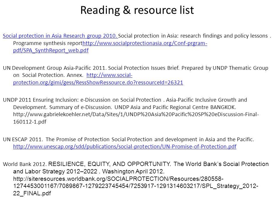 Reading & resource list