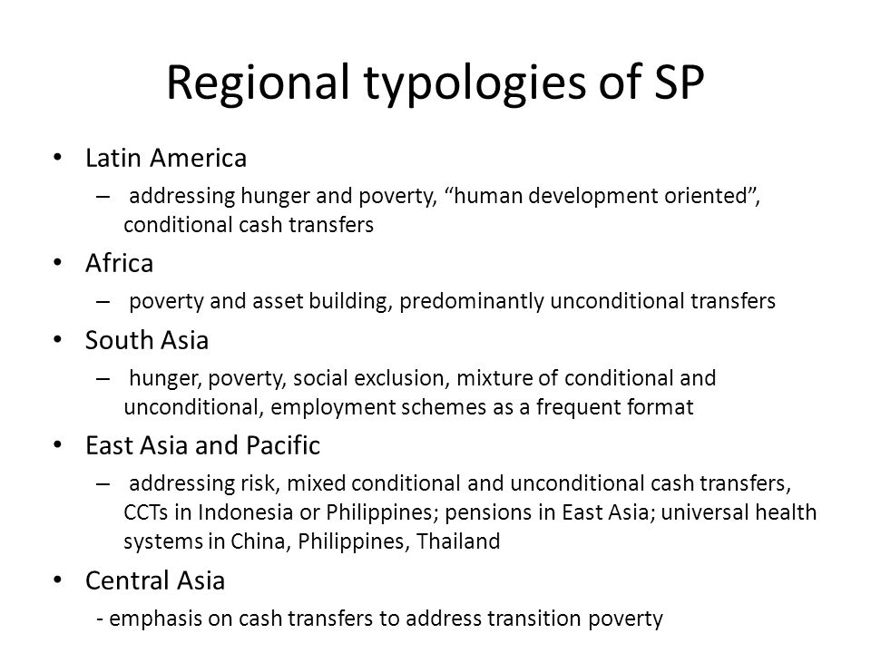 Regional typologies of SP