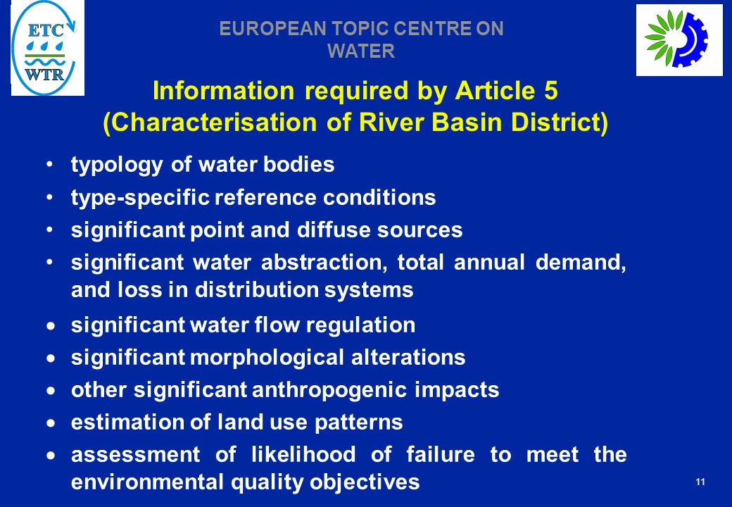 Information required by Article 5 (Characterisation of River Basin District)