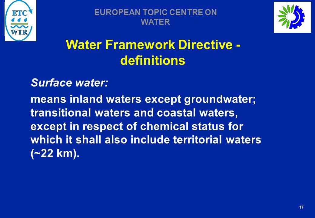 Water Framework Directive - definitions