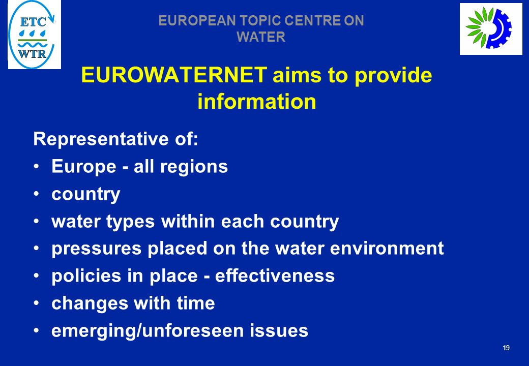 EUROWATERNET aims to provide information