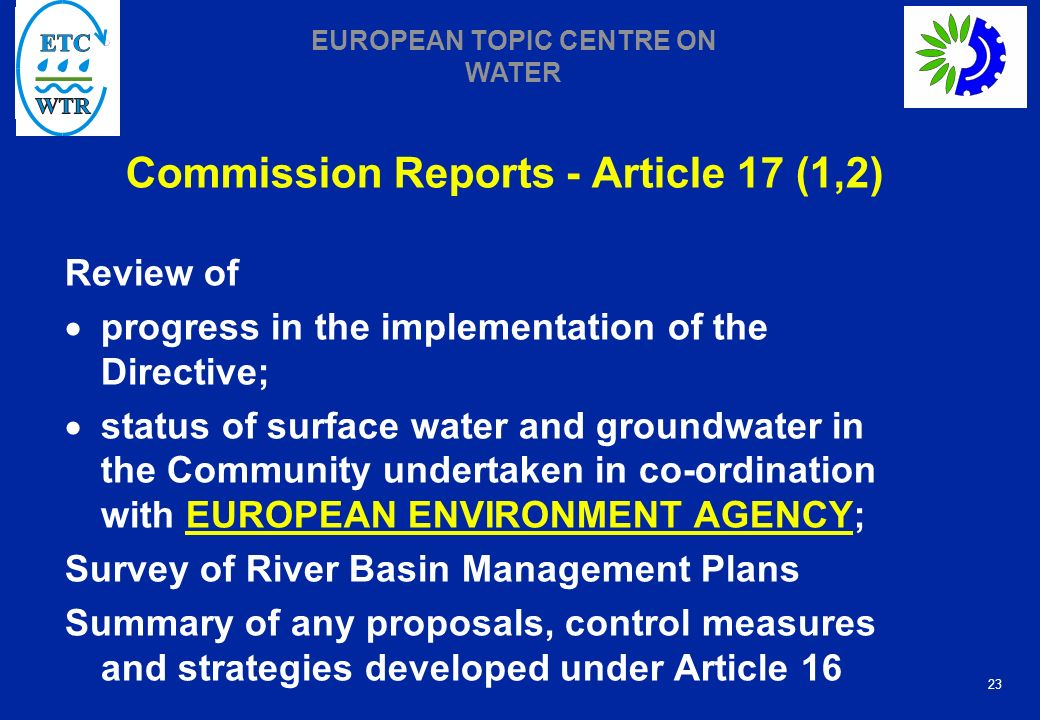 Commission Reports - Article 17 (1,2)