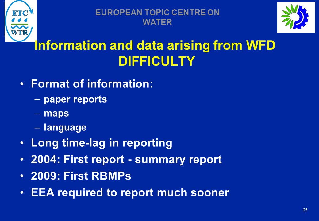 Information and data arising from WFD DIFFICULTY
