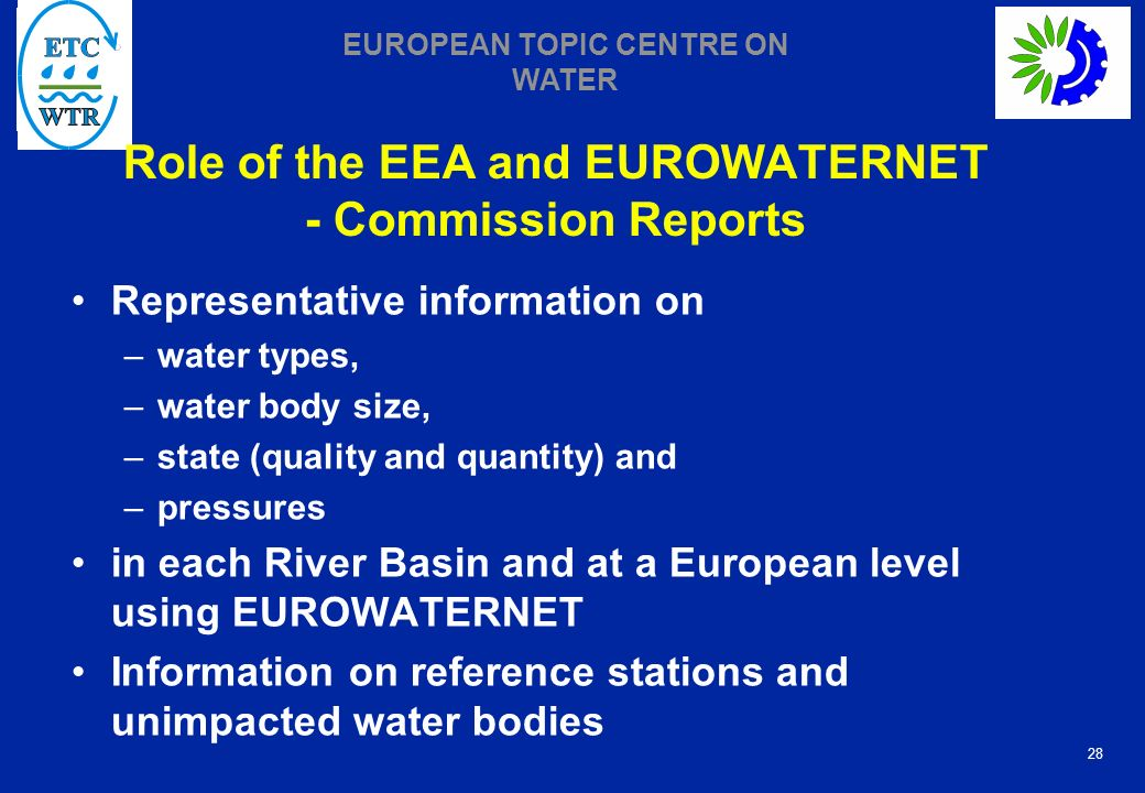 Role of the EEA and EUROWATERNET - Commission Reports